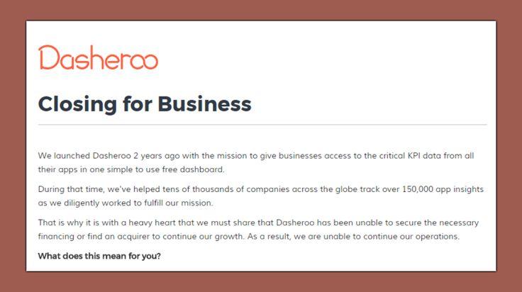 Business Dashboard Dasheroo is Closing Down / smallbiztrends.com