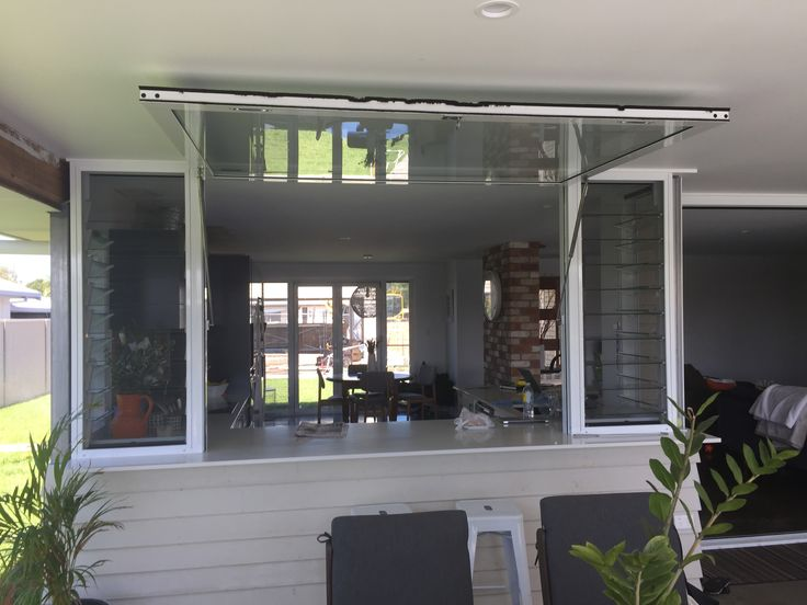 Gas Strut Window at Burleigh Waters Qld 4220 by C-View Windows. Great servery window option