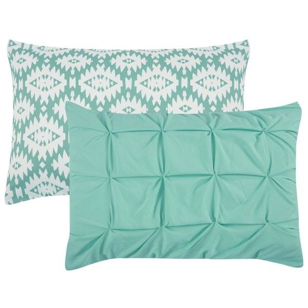 Huber 10 Piece Reversible Aqua Comforter Set (150 AUD) liked on Polyvore featuring home, bed ...