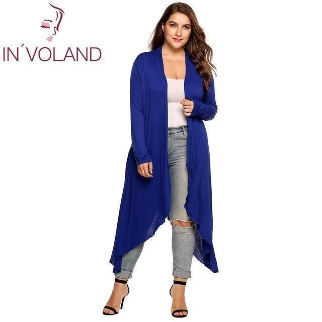 Long Draped Plus Size Cardigan Purple / 4XL