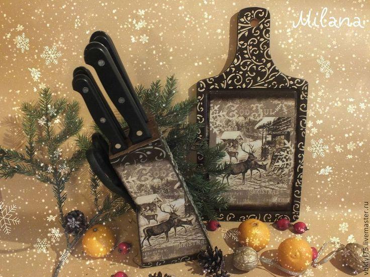 """Купить """"Нарния"""" Подставка для ножей. Дерево. Декупаж - коричневый, подставка для ножей, подставка, подарок хозяйке"""