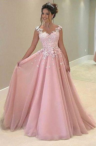 Pink Appliques Prom Dress,Long Prom Dresses,Charming Prom Dresses,Evening Dress Prom Gowns, Formal Women Dress,prom dress