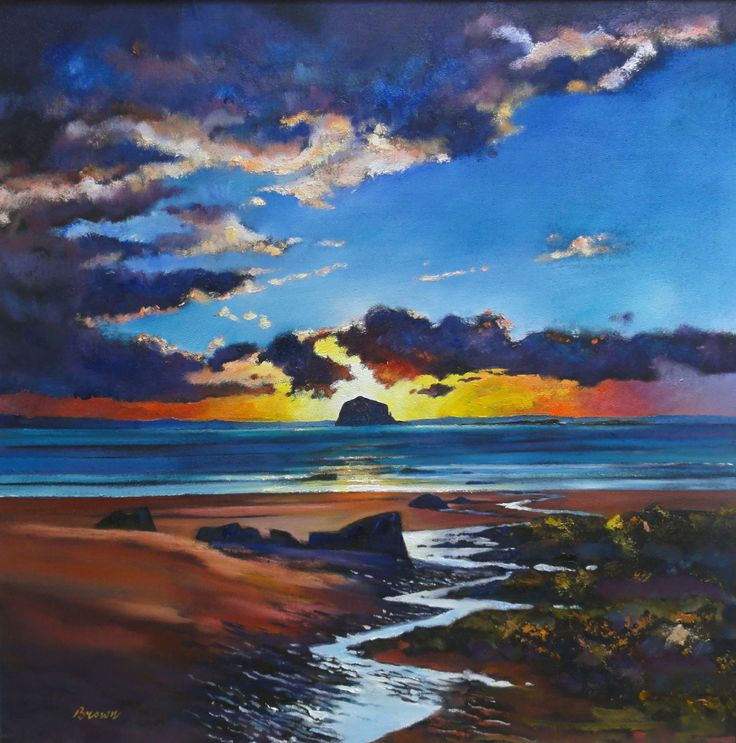 Sunset Over the Bass Rock by Davy Brown is for sale with @fidrafineart in North Berwick.