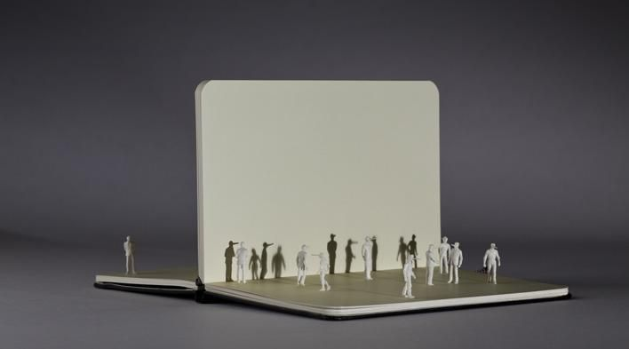 Alex Pinna, Without words, paper resin and plexiglass, 30X24X24, 2012