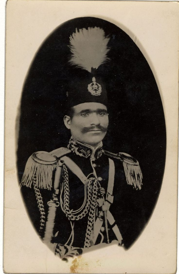 Photograph of a senior Afghan military officer, identified as Said Hussain, commander in chief of the army of Bacha i Saqao, an oval print (probably copied) with the individual in an elaborate uniform and hat with a high plume.