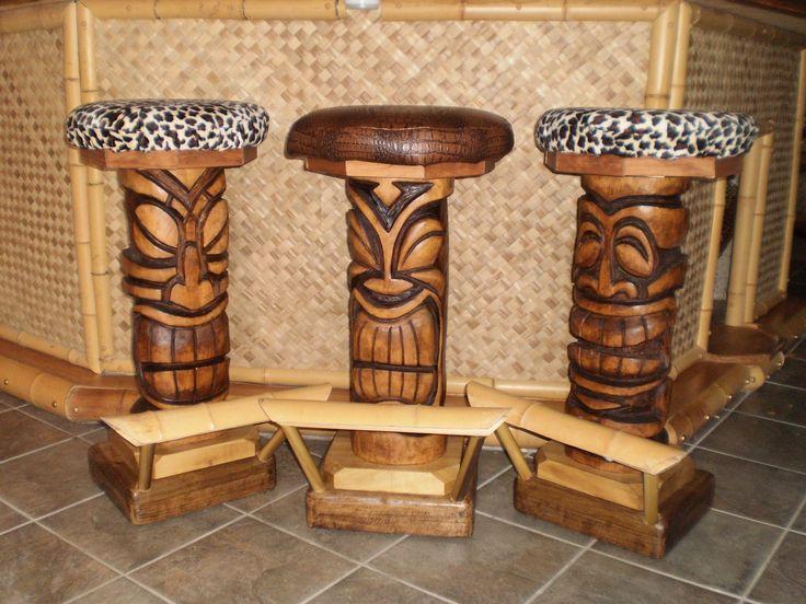 Tiki Teeth Bar Stools Custom, Outdoor Tiki Bar Chairs