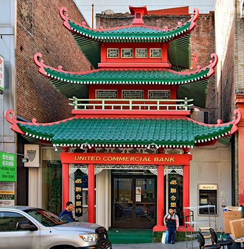 Site of the Chinese Telephone Exchange in San Francisco since 1891, this building at 743 Washington Street in San Francisco's Chinatown neighborhood was rebuilt in 1909 after the 1906 earthquake. Restored by the Bank of Canton in 1960 it is now the United Commercial Bank.
