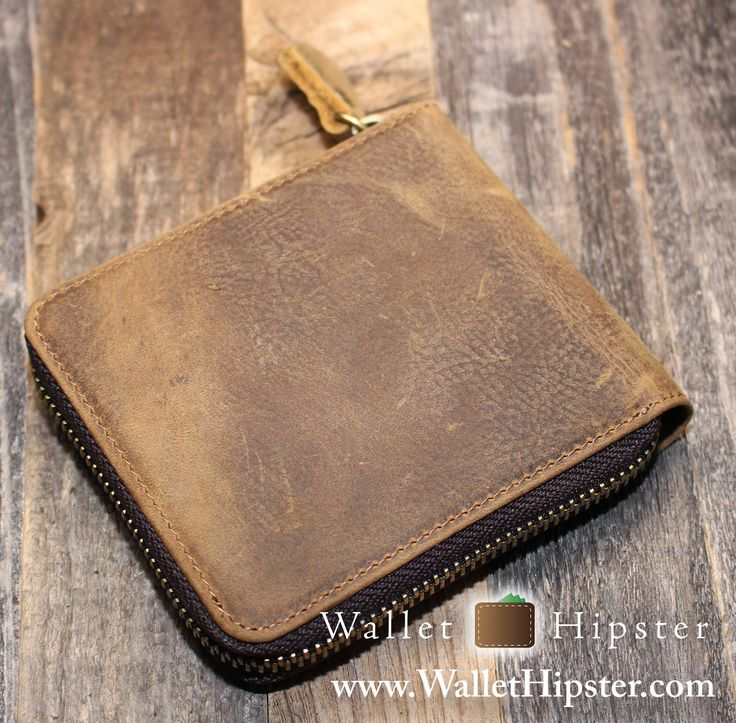 """""""Crazy Horse"""" Vintage Leather Men's Zippered Bifold Wallet — FREE SHIPPING — Limited Supplies – Wallet Hipster"""