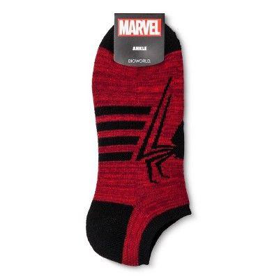 Men's Spiderman Ankle Socks 2pk - Red/Black One Size
