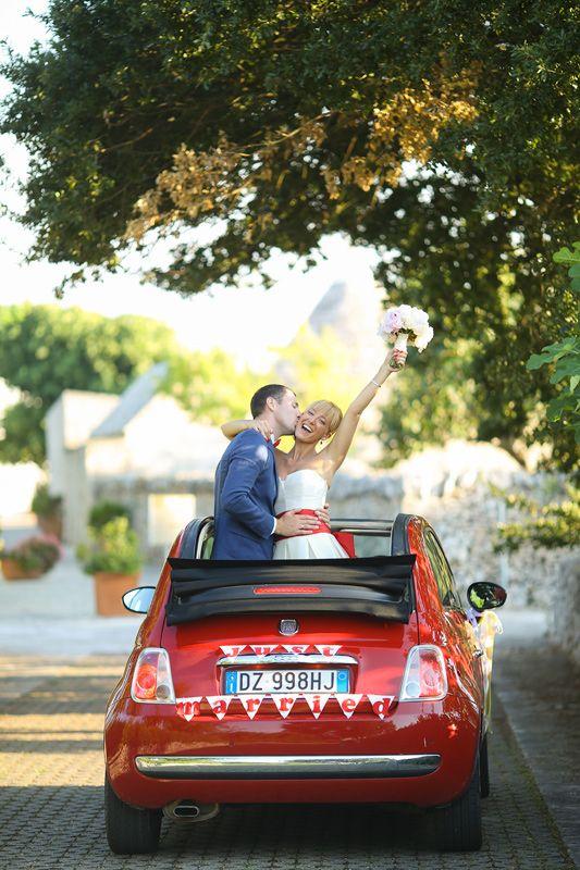 Red Fiat 500 cabrio for your wedding in Italy / Красный Фиат 500 кабрио на вашу свадьбу в Италии