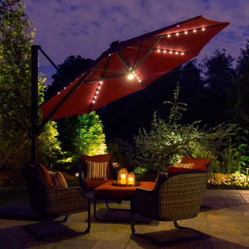 11 Led Solar Offset Umbrella In Burgundy By Seasons