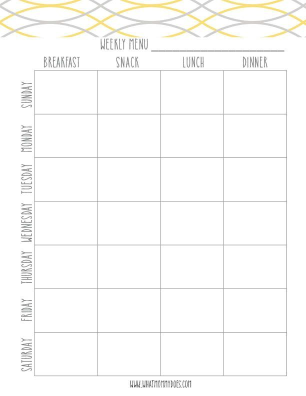 Free Printable Meal Planning Template - This is a yellow weekly menu tracker (a blue version is also available for download). It also includes family friendly daily meal ideas…themed meal nights you can customize…I am soooo doing this!