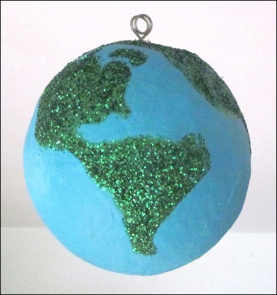 Mama's Little Muse: Glittery Paper-mache Earth Hanging!
