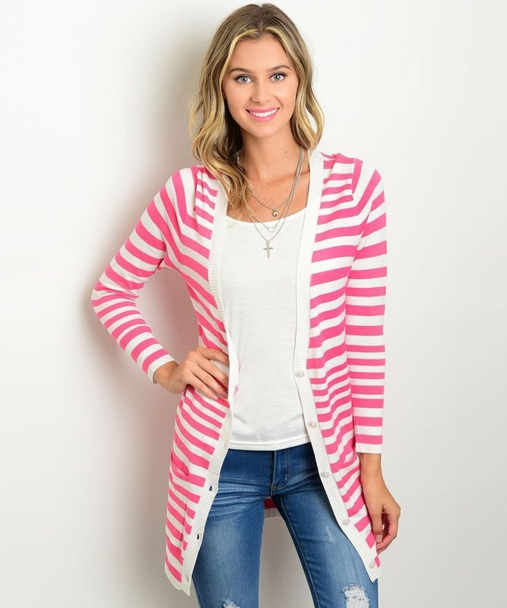 #PorEncargo: Cardigan blanco #franjas rosadas