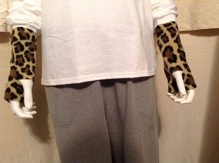 Leopard Cheetah Fleece 7-8in Knuckle Wrist Gaiters Handmade Hand Warmers 8inLong #HandmadebyUSASellerLoneRavenRanch