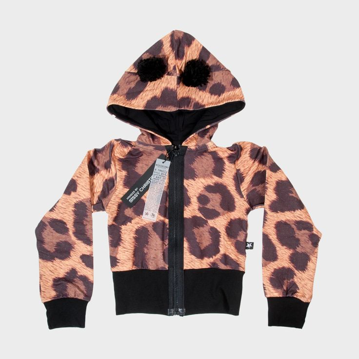 Kids' leopard sweatshirt with ears