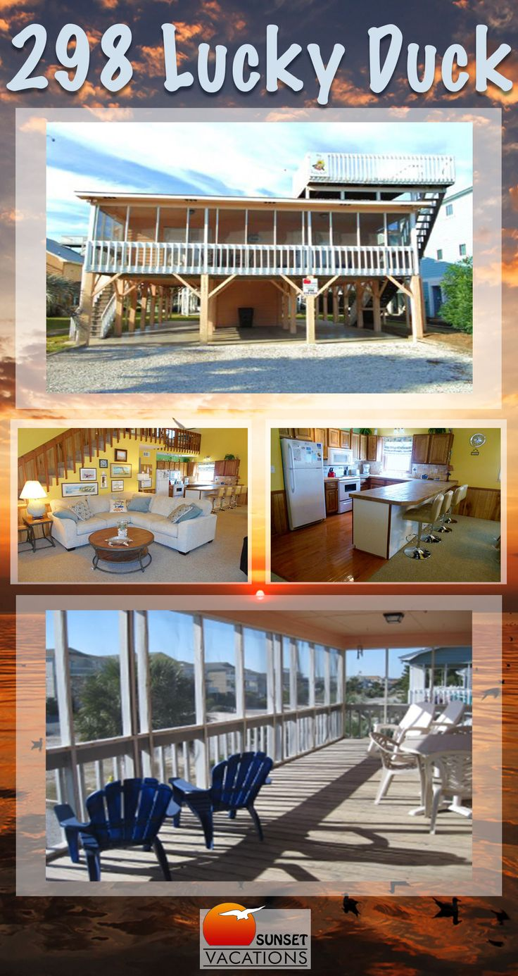 """Your will be a """"Lucky Duck"""" is you book this Sunset Beach rental for your next vacation!! 3-bedrooms, a huge porch, and super affordable."""