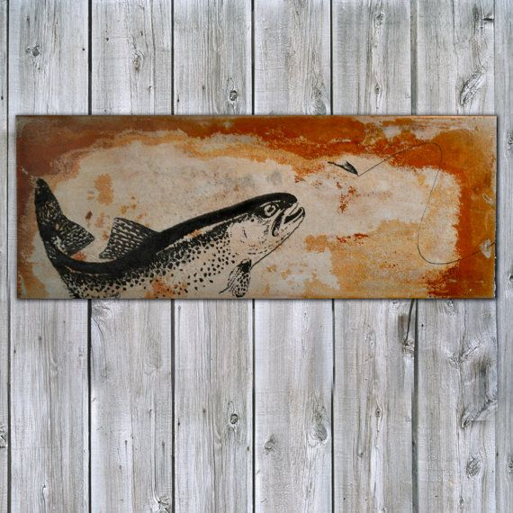 Fly Fishing for Trout on Rusted Metal.  Gift idea for a fisherman. Gifts under $100