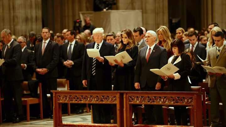 President and Mrs Donald Trump and Vice President and Mrs. Mike Pence at the National Day of Prayer in the Washington National Cathedral, the morning of January 21, 2017.