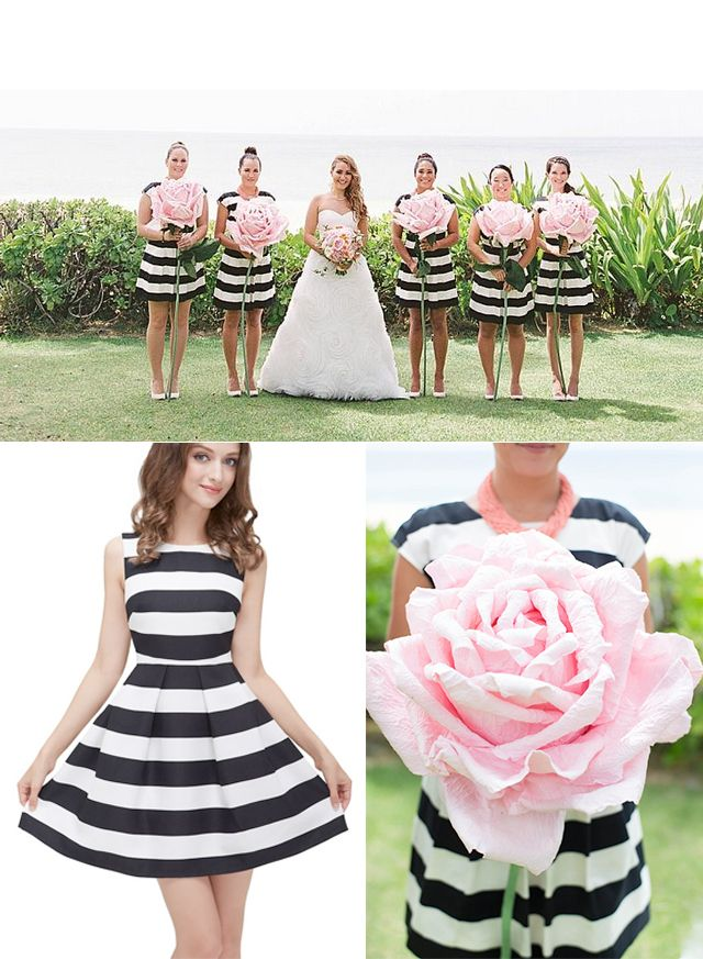 Pink white black dresses