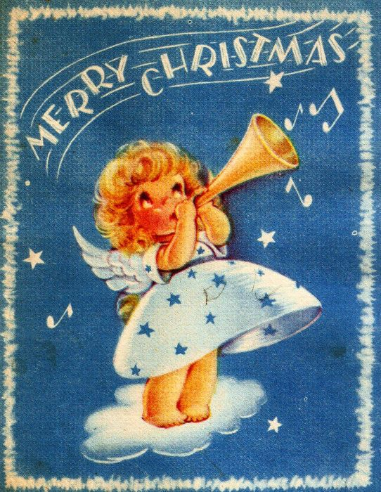 Vintage Christmas Card Little Angel Trumpet Music