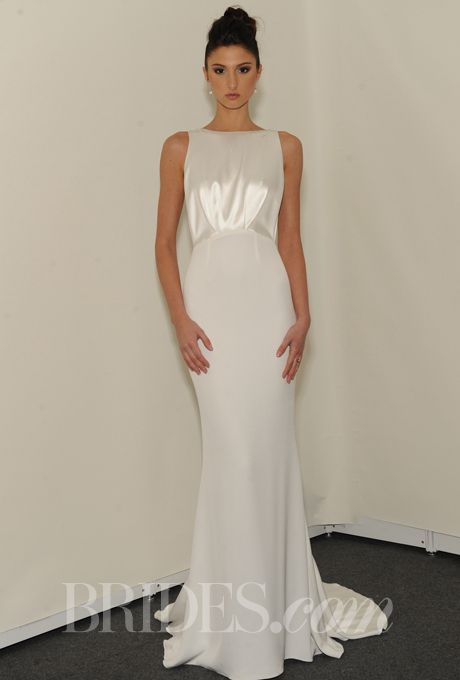 Brides.com: . Sleeveless sheath wedding dress with high neckline, Rafael Cennamo See more Rafael Cennamo wedding dresses.