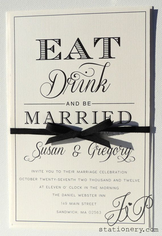 Timeless Wedding Invitation - Eat Drink and be Married on Etsy, $4.50