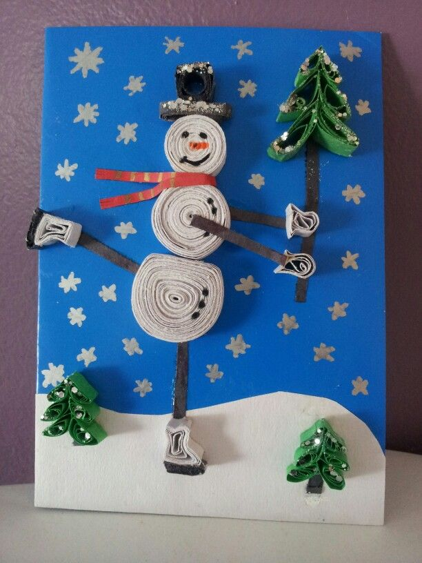 Carte de Noël. Quilling. Noël 2014.