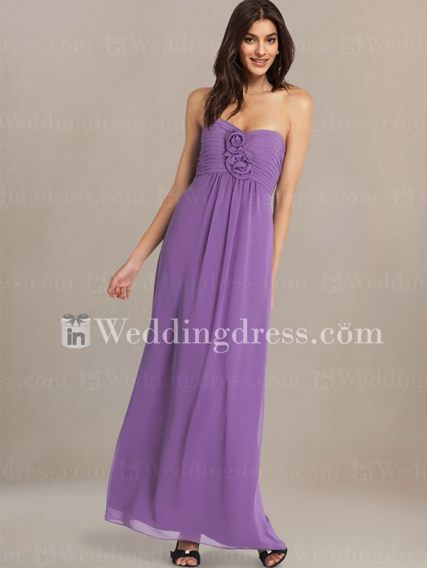 Elegant Strapless Bridesmaid Gown with Floral Detail BR133