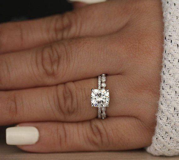 14k White Gold Moissanite Cushion 7.5mm Engagement Ring, Diamond Milgrain Wedding Band, Bridal Ring Set, Moissanite Forever Classic Ring