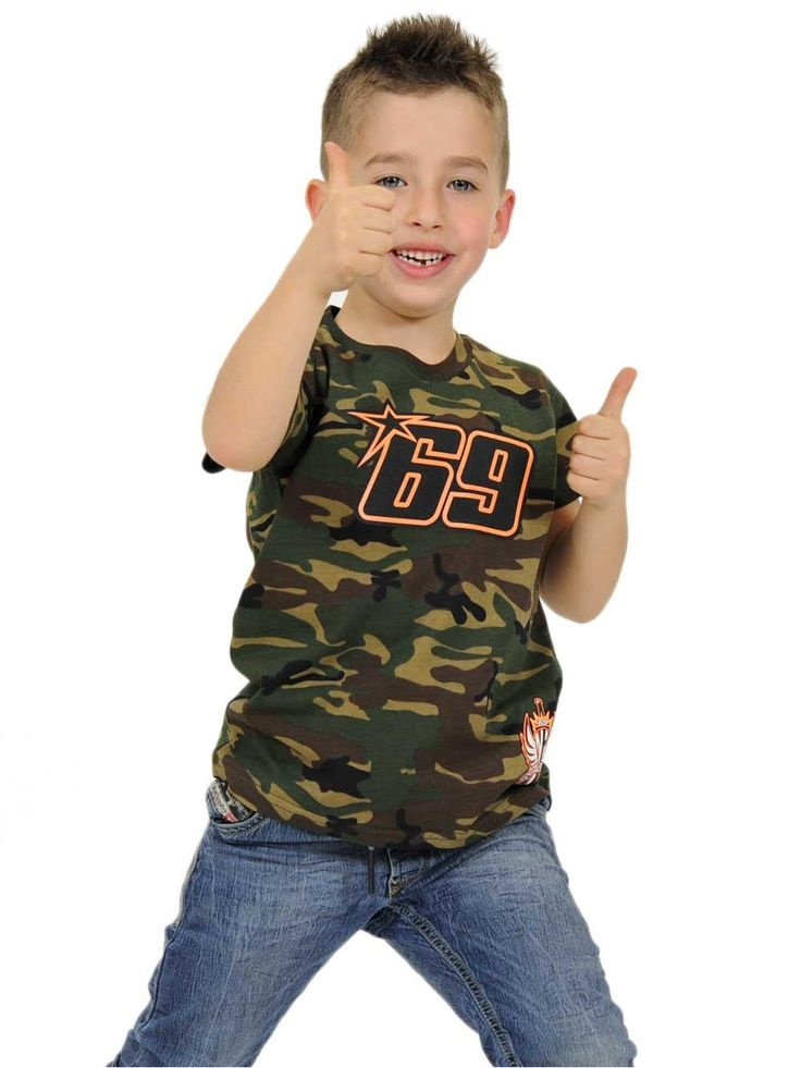 Nicky Hayden T-shirt for kid. T-shirt with Camouflage color and the number 69 of Hayden in black and orange