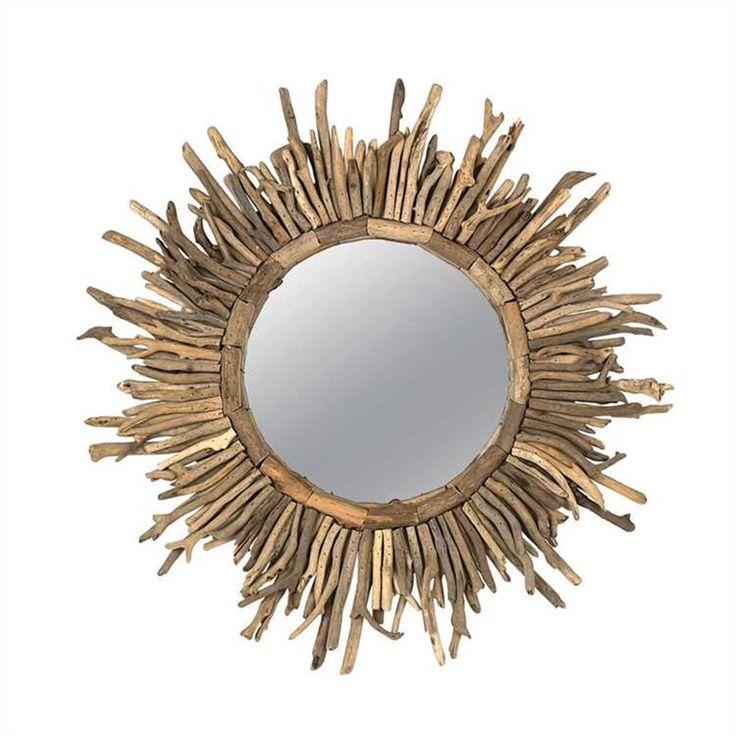 wall-decor-mirrors-Round Driftwood Sunburst Mirror 26 inch