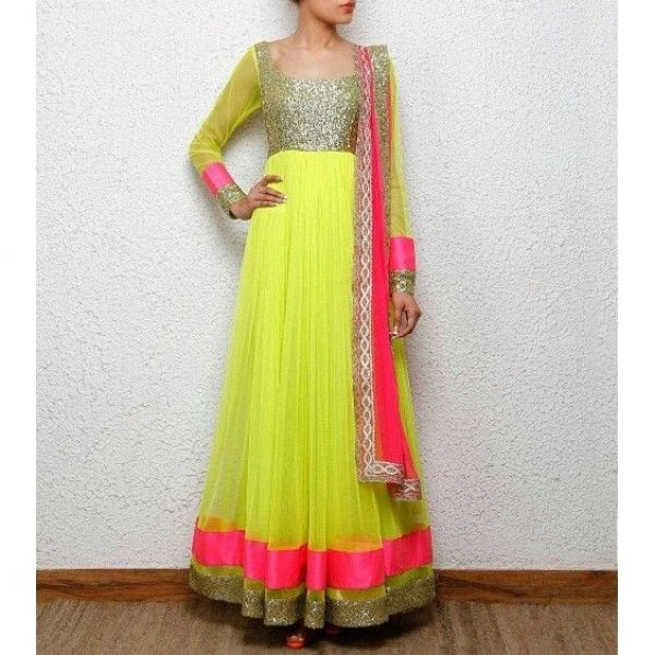 Neon Yellow Net Anarkali With Net Dupatta By Purple Oyster from Fleaffair
