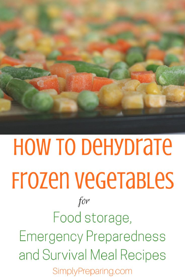 How To Dehydrate frozen Vegetables for Beginning Preppers. Here's a simple food dehydrator recipe for emergency preparedness, food storage, and survival meals. Self reliance and frugal living. #survivalfoodrecipes #emergencypreparedness #prepperstorage