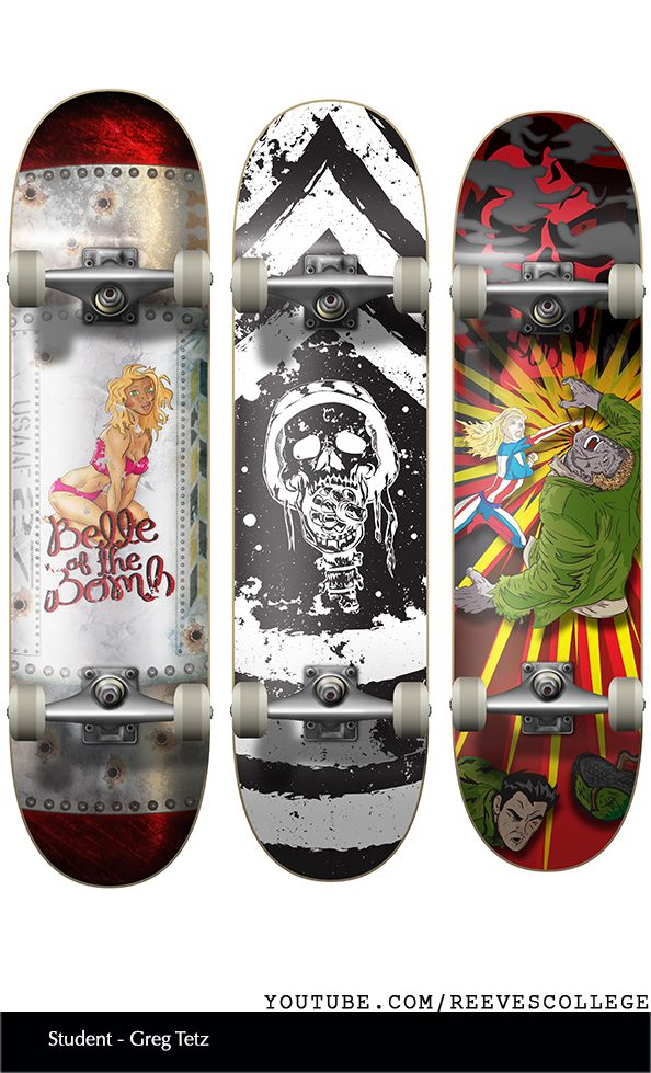 Skateboard Deck Design Adobe Illustrator CS6 by Reeves College Student Greg T  #skateboard #clipart #design #art #skateboardart #skateboarddesign #skatedeck #deckart #deckdesign #graphicdesign Subscribe to Reeves College:  http://www.youtube.com/subscription_center?add_user=ReevesCollege