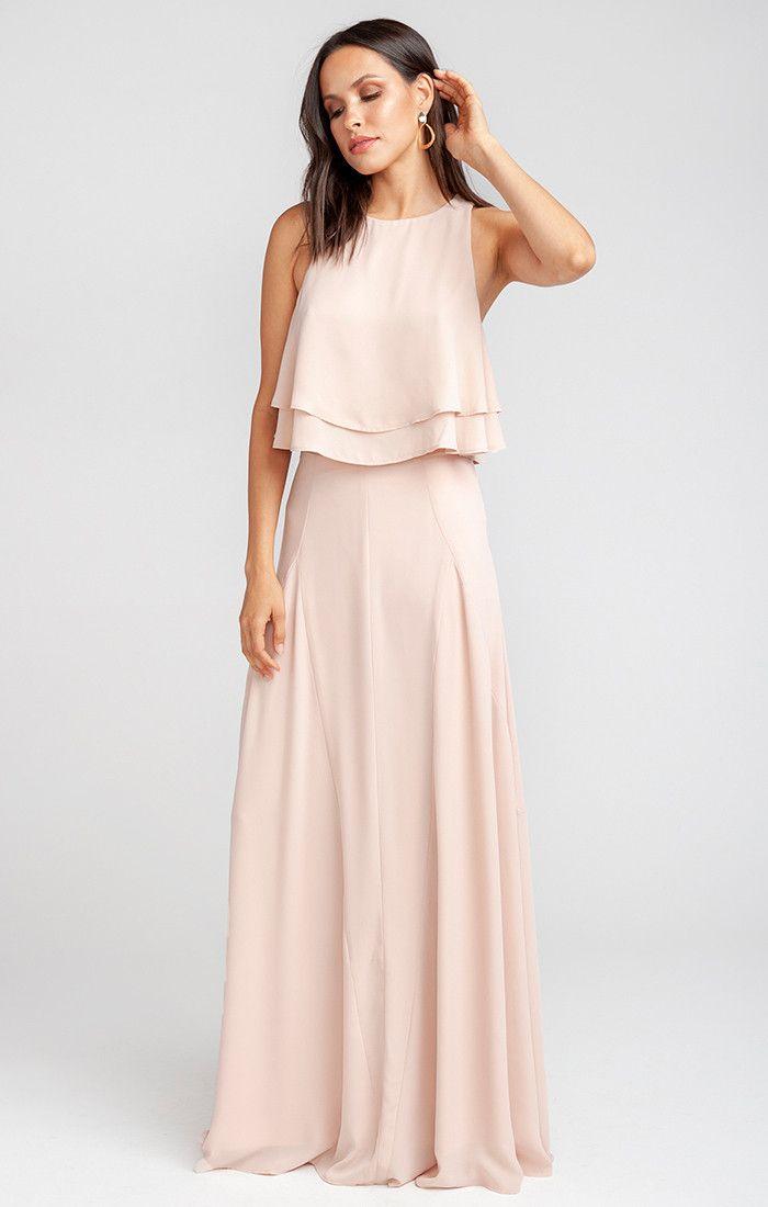 Princess Di Stretch Ballgown Maxi Skirt Dusty Blush Crisp