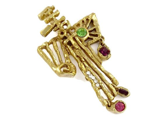 Christian Lacroix (FR), modernist abstract cross pendant in metal with colored rhinestone charms and embellishments. #france | peculiarjewelry.com x etsy