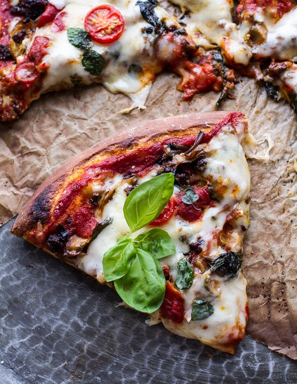 Cheesy Fontina Caramelized Onion, Chorizo, Spinach and Artichoke Pizza | halfbakedharvest.com @hbharvest