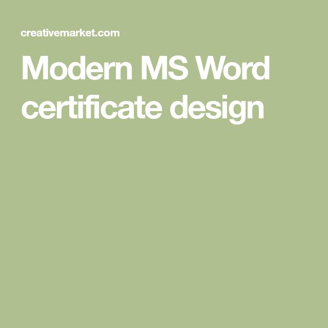 Modern MS Word certificate design