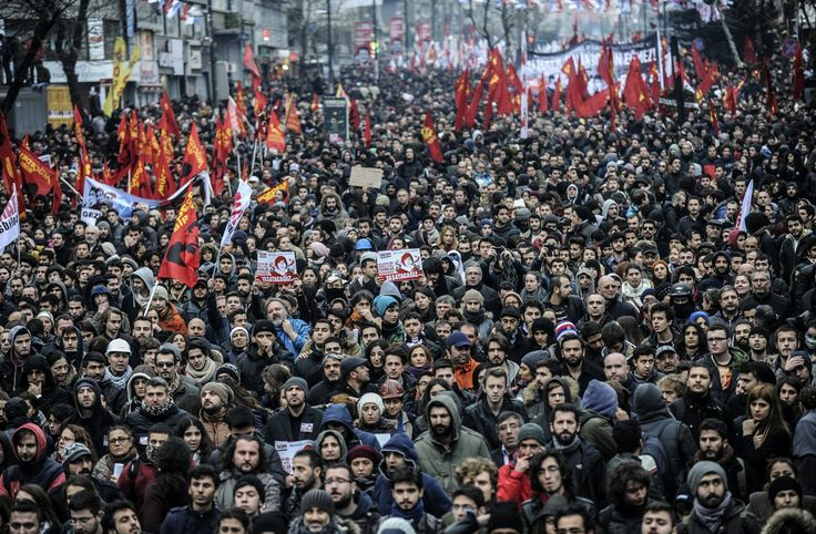 Thousands of people attend the funeral of Berkin Elvan, the 15-year-old boy who died from injuries suffered during last year's anti-government protests, in Istanbul on March 12, 2014.