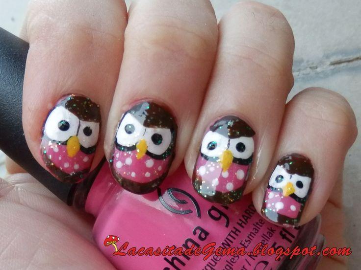 halloween owl nail art