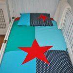 Dekbedovertrek Big Bold Star in zeegroen - aqua- donkerblauw & rood via #wazzhappening.nl