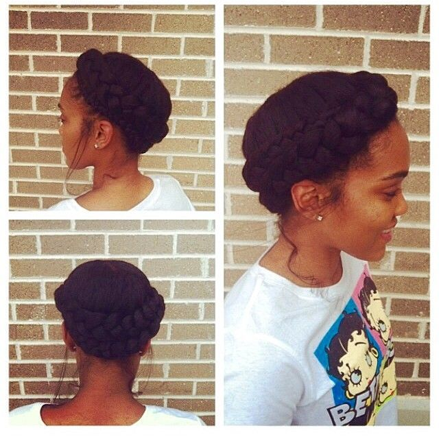 This halo braid by @deecarrington is so pretty and classy! It's a great protective style for natural or relaxed hair! ❤️it! ✂️========================== Go to VoiceOfHair.com ========================= Find hairstyles and hair tips! =========================