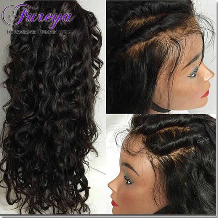 Glueless Brazilian Penuh Renda Wig Rambut Manusia Untuk Wanita Hitam Cruly gelombang Renda Depan Wig Rambut Manusia Dengan Bayi Rambut Renda Depan Wig