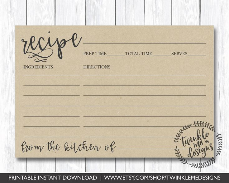 Recipe Card Printable, Printable Recipe Card, DIY Recipe Cards, 4x6 Recipe Card, Bridal Shower Recipe Card, PDF Instant Download, Kraft, DIY, recipe cards, printable, template, DIY, Cheap Recipe Cards, recipe cards for bridal shower, recipe cards for baby shower, unique gift ideas, recipe gift box, family recipe organization, family recipes, secret recipes, cute, rustic, classy, formal, modern, recipe box by TwinkleMeDesigns on Etsy