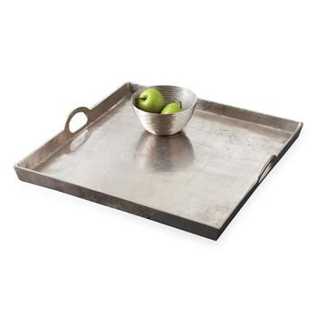 Morton Square Mixed Silver Metal Contemporary Serving Tray. #kathykuohome #tray