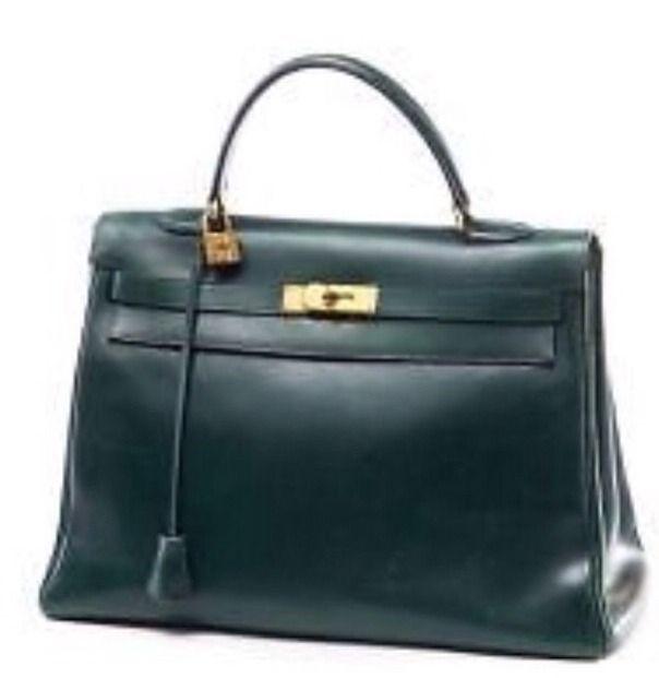 Beau sac Kelly Hermès Vintage Authentique !! Vert sapin très rare et recherché