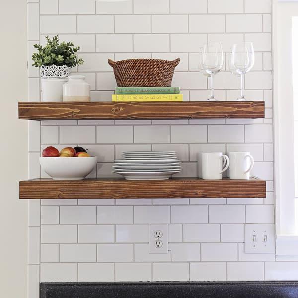 Diy Kitchen Floating Shelves Lessons Learned In 2020 Diy Kitchen Open Kitchen Shelves Floating Shelves Diy