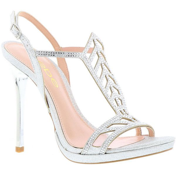 Bebe Hunnie Women's Silver Sandal ($100) ❤ liked on Polyvore featuring shoes, sandals, silver, adjustable sandals, high heels sandals, silver high heel shoes, high heeled footwear and silver sandals