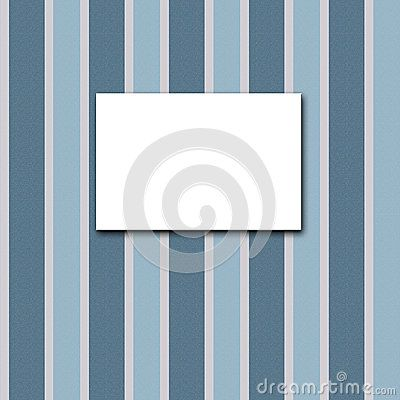 White canvas frame on a blue striped wallpaper.